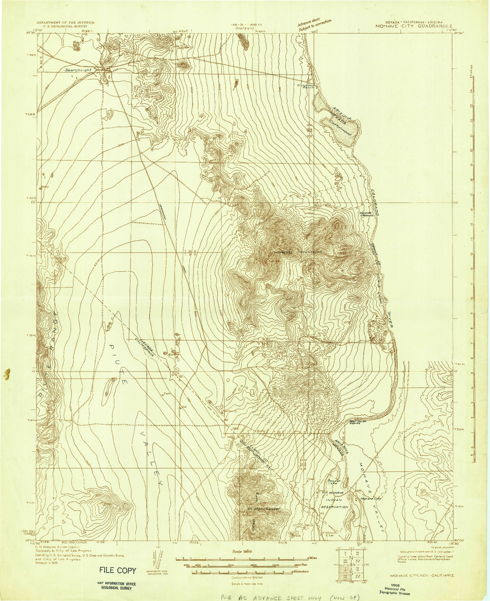 USGS 1:96000-SCALE QUADRANGLE FOR MOHAVE CITY, NV 1926