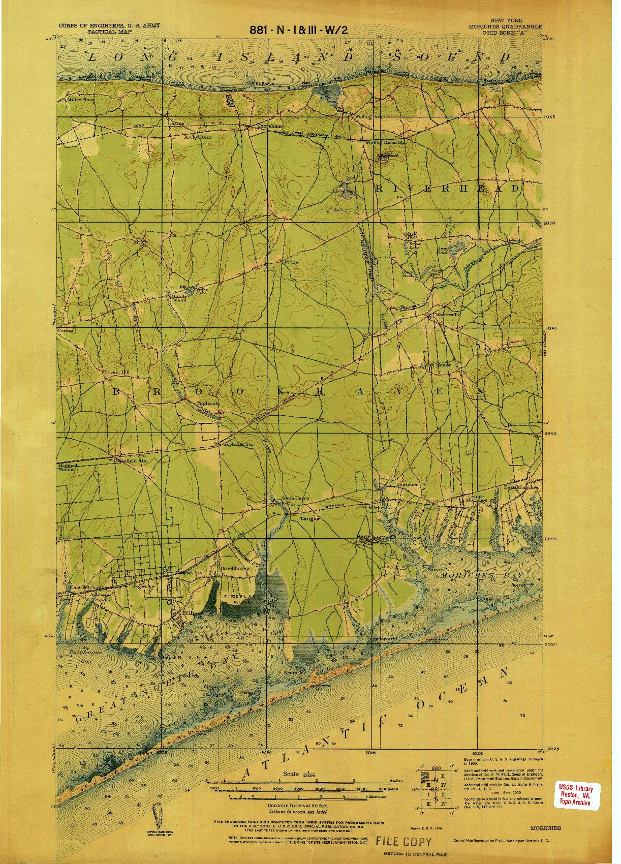 USGS 1:62500-SCALE QUADRANGLE FOR MORICHES, NY 1926