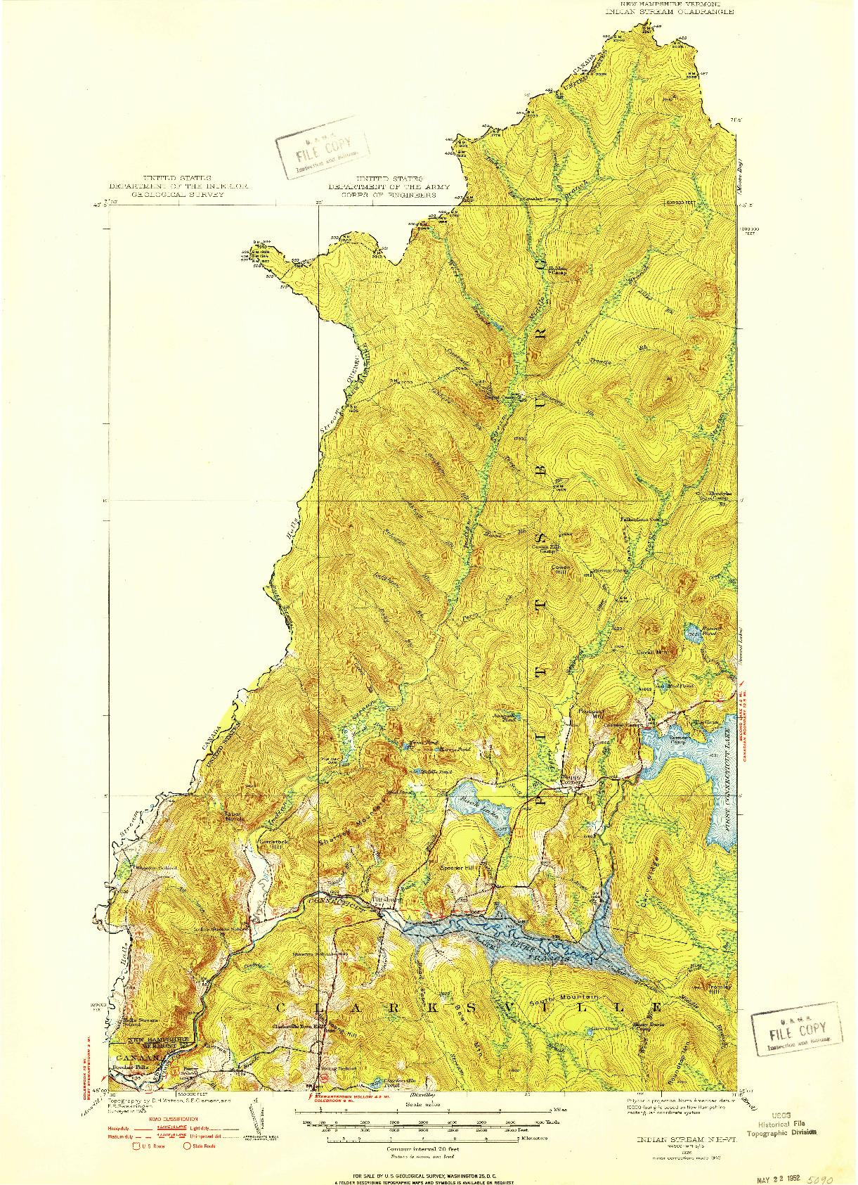 USGS 1:62500-SCALE QUADRANGLE FOR INDIAN STREAM, NH 1926