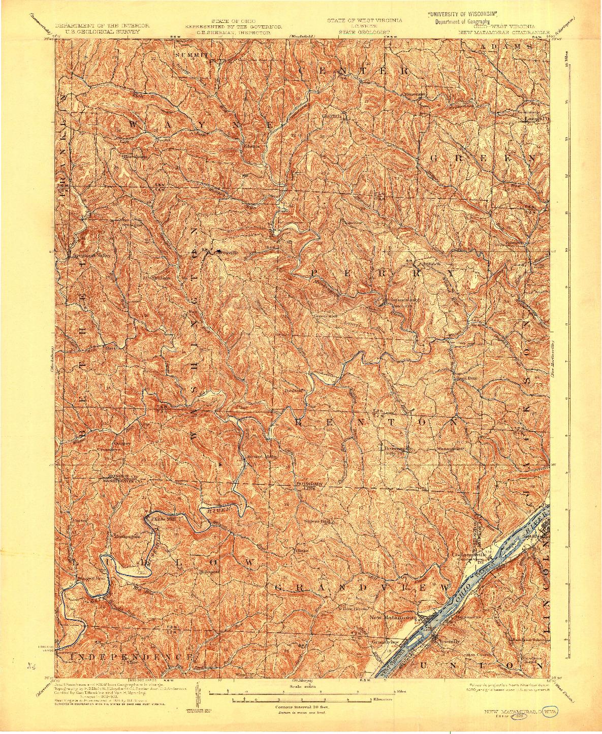 USGS 1:62500-SCALE QUADRANGLE FOR NEW MATAMORAS, OH 1926