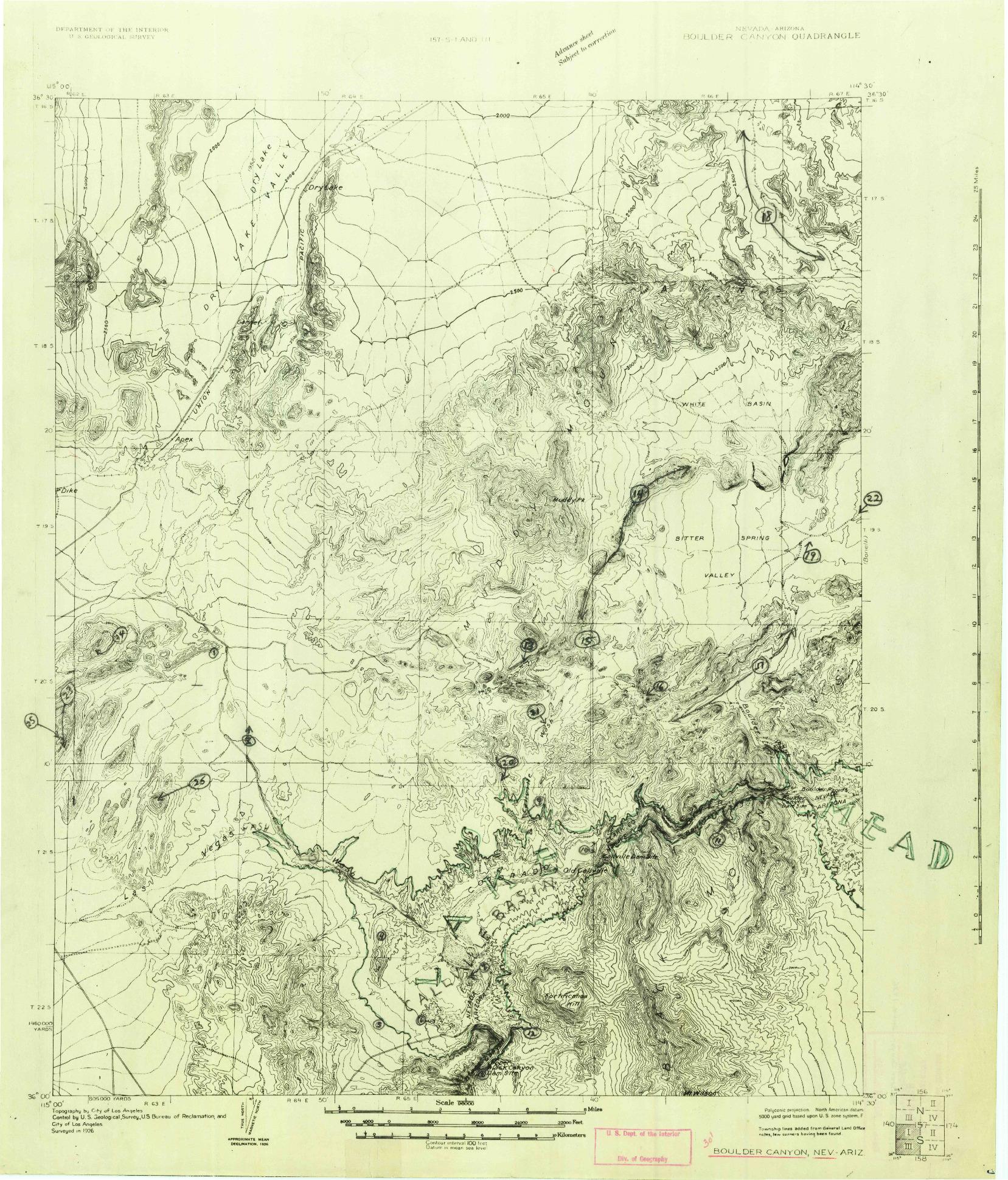 USGS 1:96000-SCALE QUADRANGLE FOR BOULDER CANYON, NV 1926