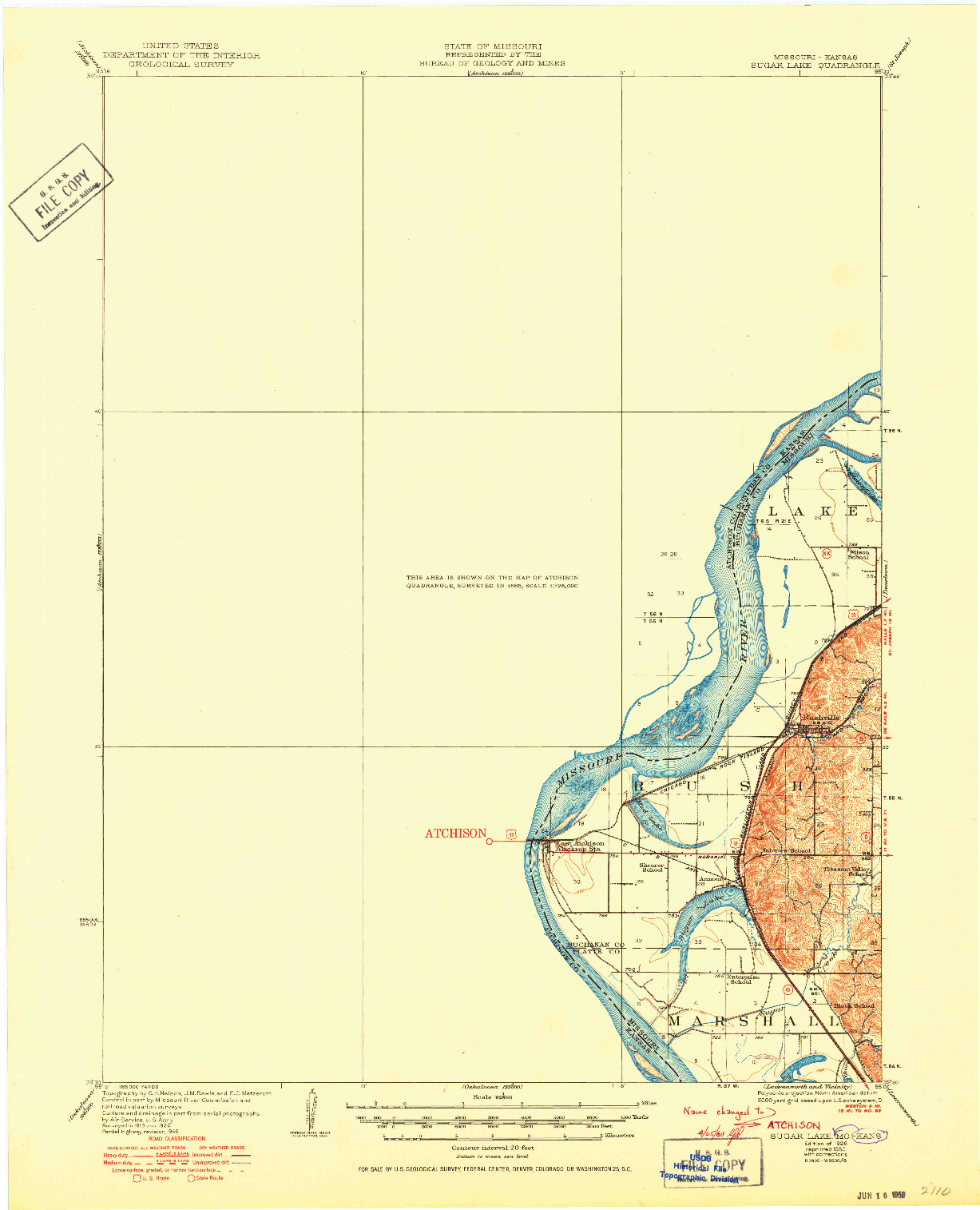 USGS 1:62500-SCALE QUADRANGLE FOR ATCHISON, KS 1926