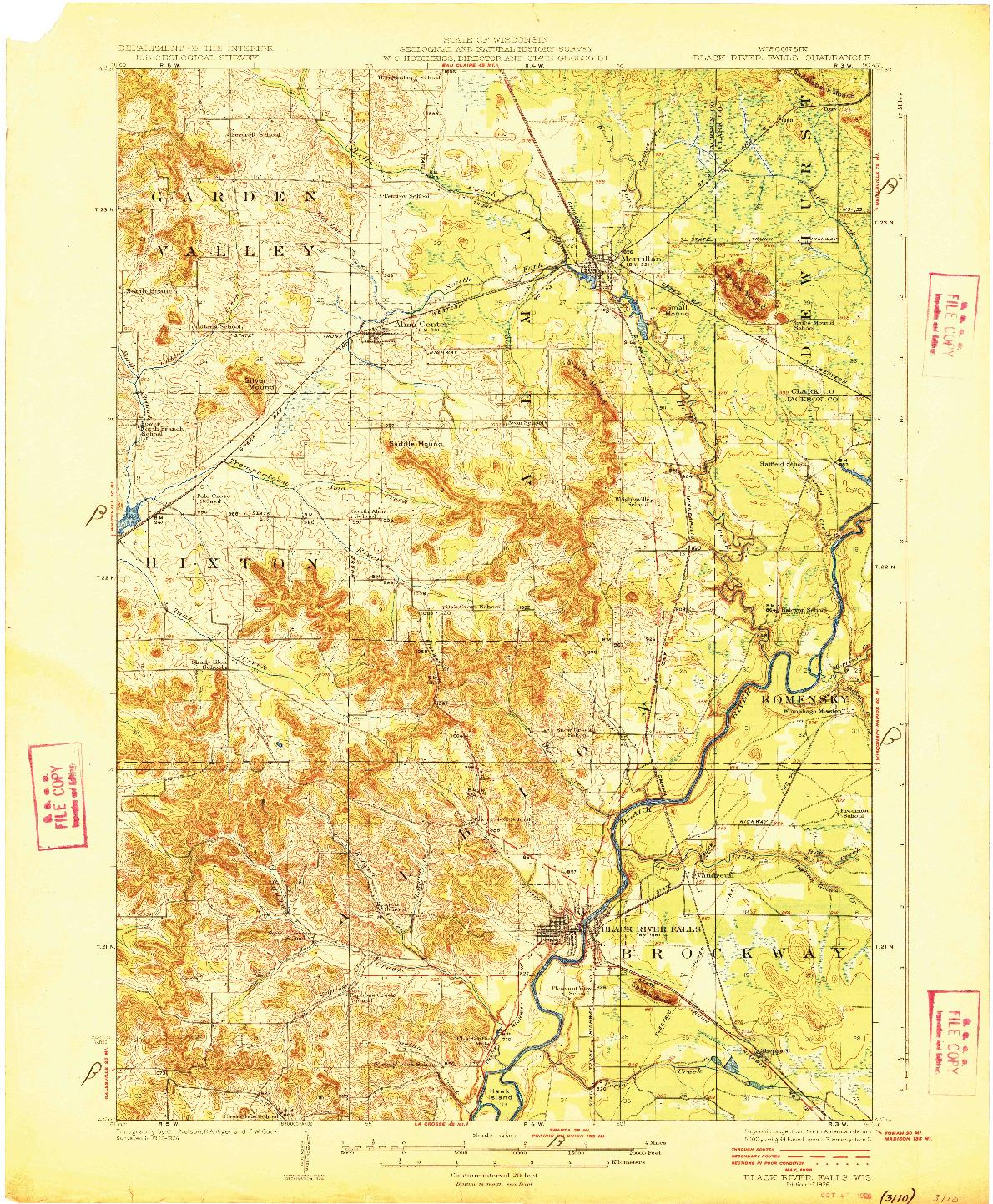 USGS 1:62500-SCALE QUADRANGLE FOR BLACK RIVER FALLS, WI 1926