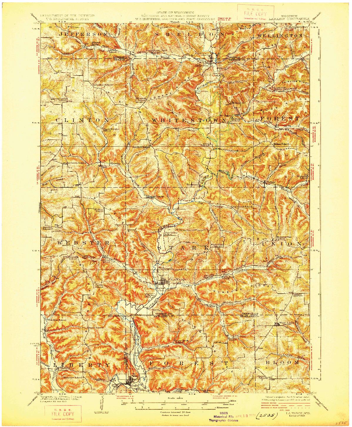 USGS 1:62500-SCALE QUADRANGLE FOR LA FARGE, WI 1926