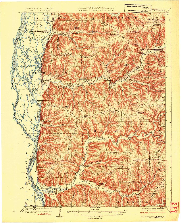 USGS 1:62500-SCALE QUADRANGLE FOR STODDARD, WI 1926
