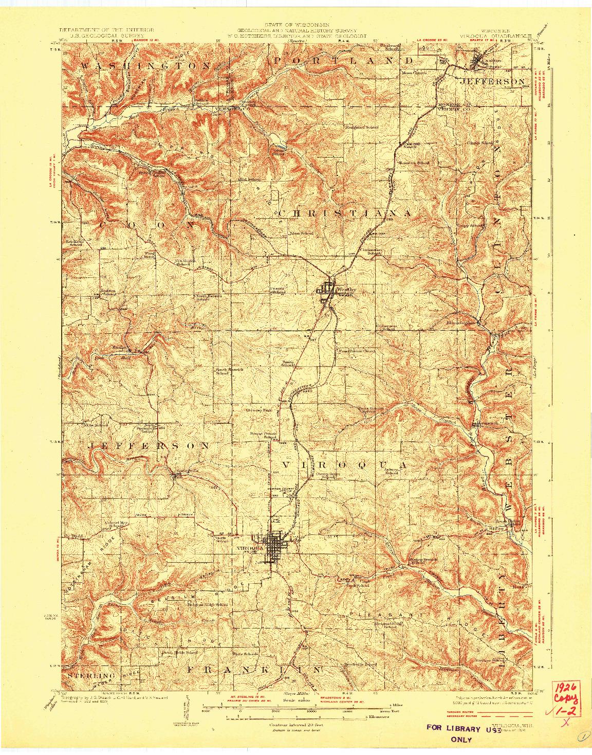 USGS 1:62500-SCALE QUADRANGLE FOR VIROQUA, WI 1926