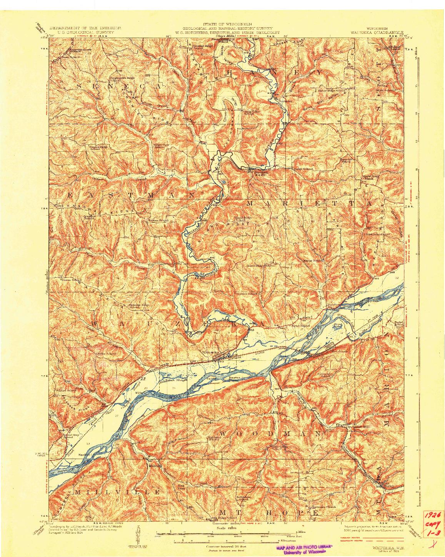 USGS 1:62500-SCALE QUADRANGLE FOR WAUZEKA, WI 1926