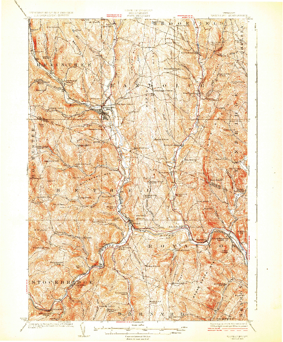 USGS 1:62500-SCALE QUADRANGLE FOR RANDOLPH, VT 1926