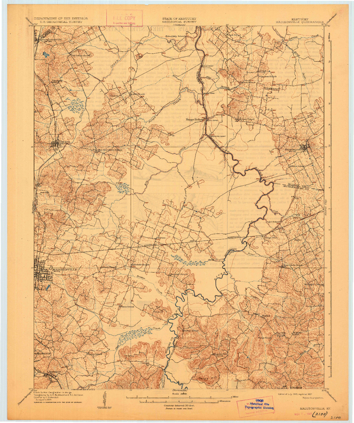 USGS 1:62500-SCALE QUADRANGLE FOR MADISONVILLE, KY 1909