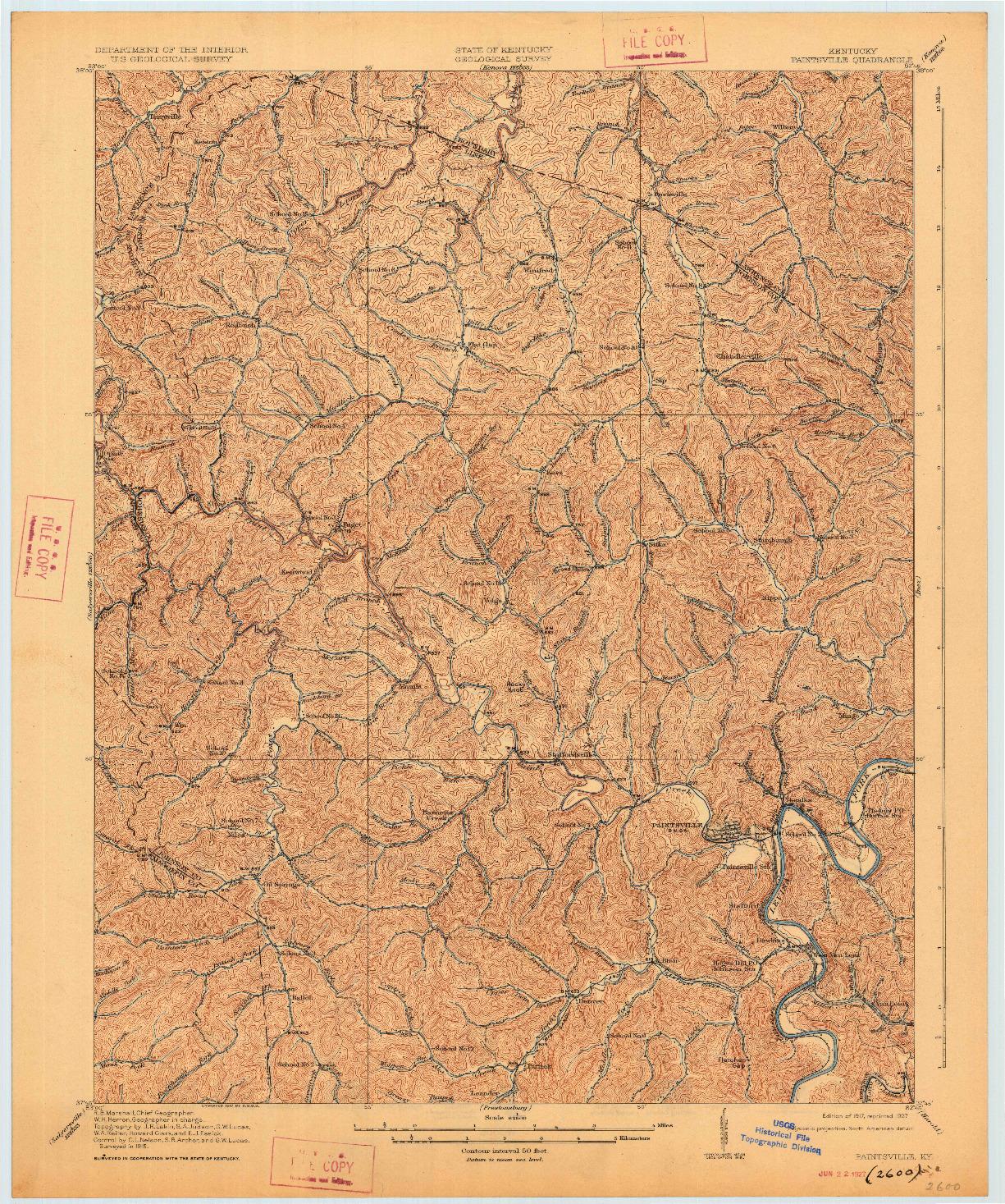 USGS 1:62500-SCALE QUADRANGLE FOR PAINTSVILLE, KY 1917
