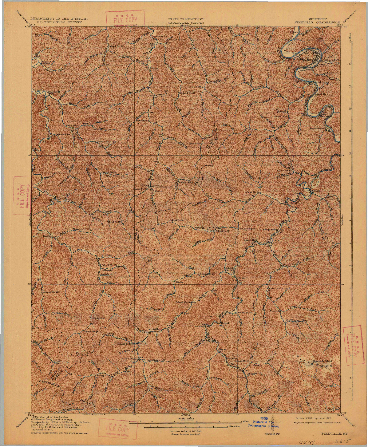 USGS 1:62500-SCALE QUADRANGLE FOR PIKEVILLE, KY 1916
