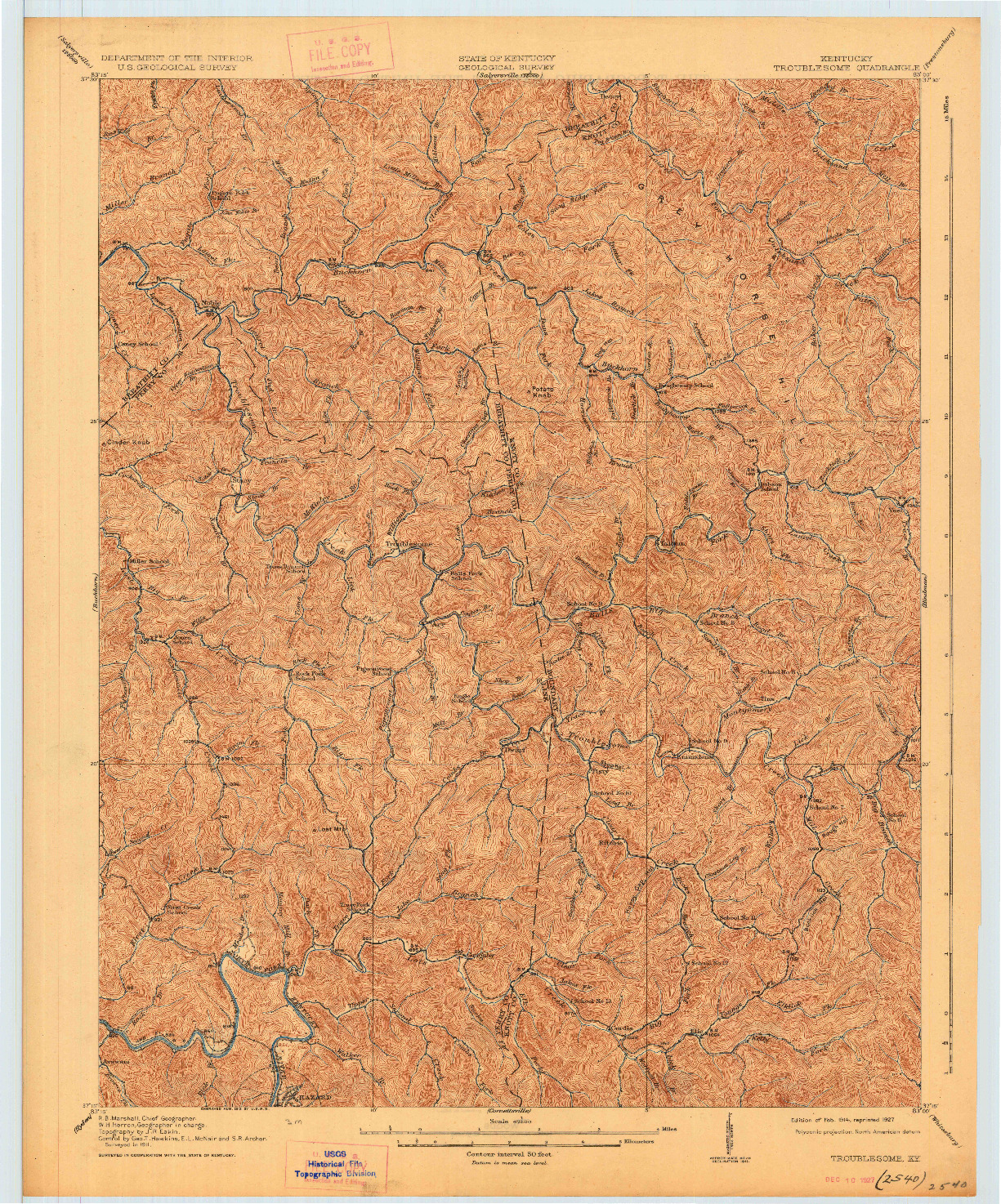 USGS 1:62500-SCALE QUADRANGLE FOR TROUBLESOME, KY 1914