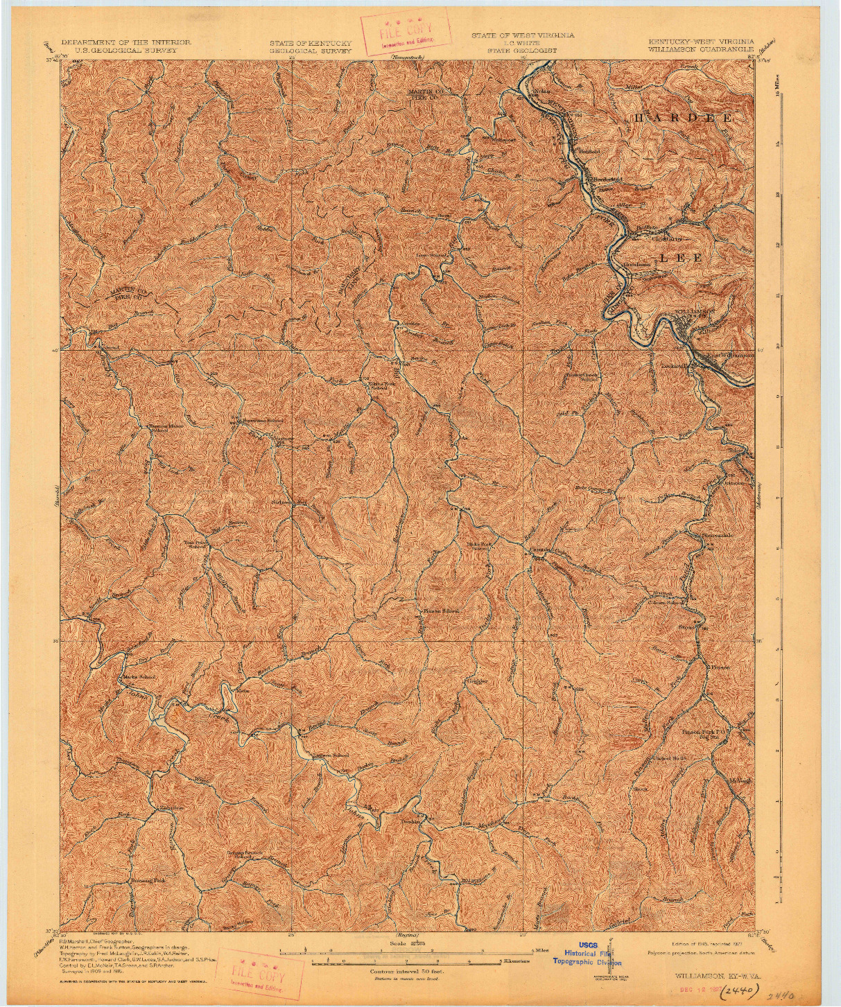 USGS 1:62500-SCALE QUADRANGLE FOR WILLIAMSON, KY 1918