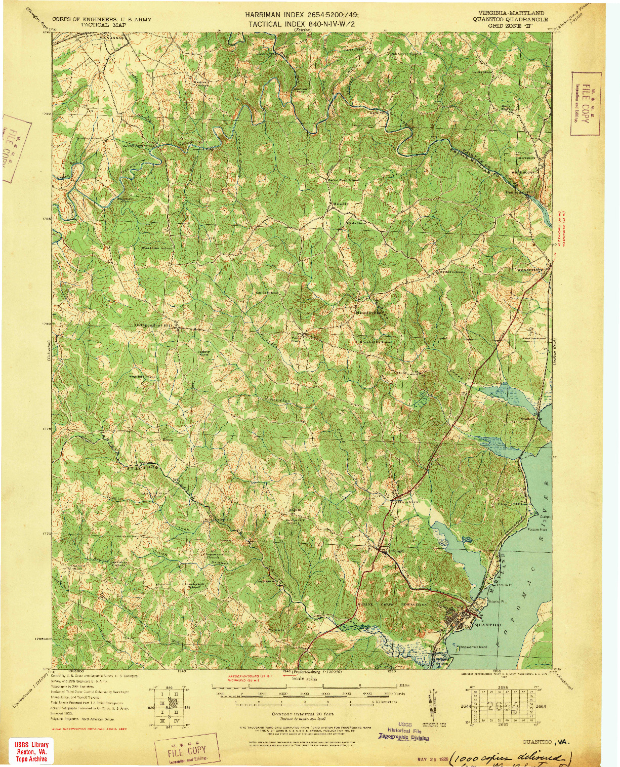 USGS 1:62500-SCALE QUADRANGLE FOR QUANTICO, VA 1927