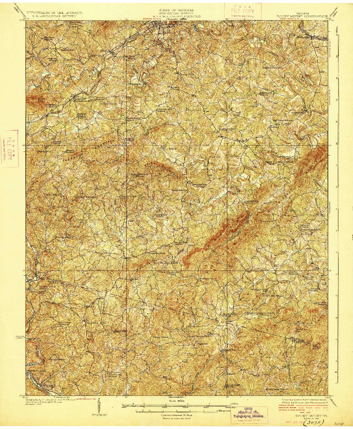 USGS 1:62500-SCALE QUADRANGLE FOR ROCKY MOUNT, VA 1927