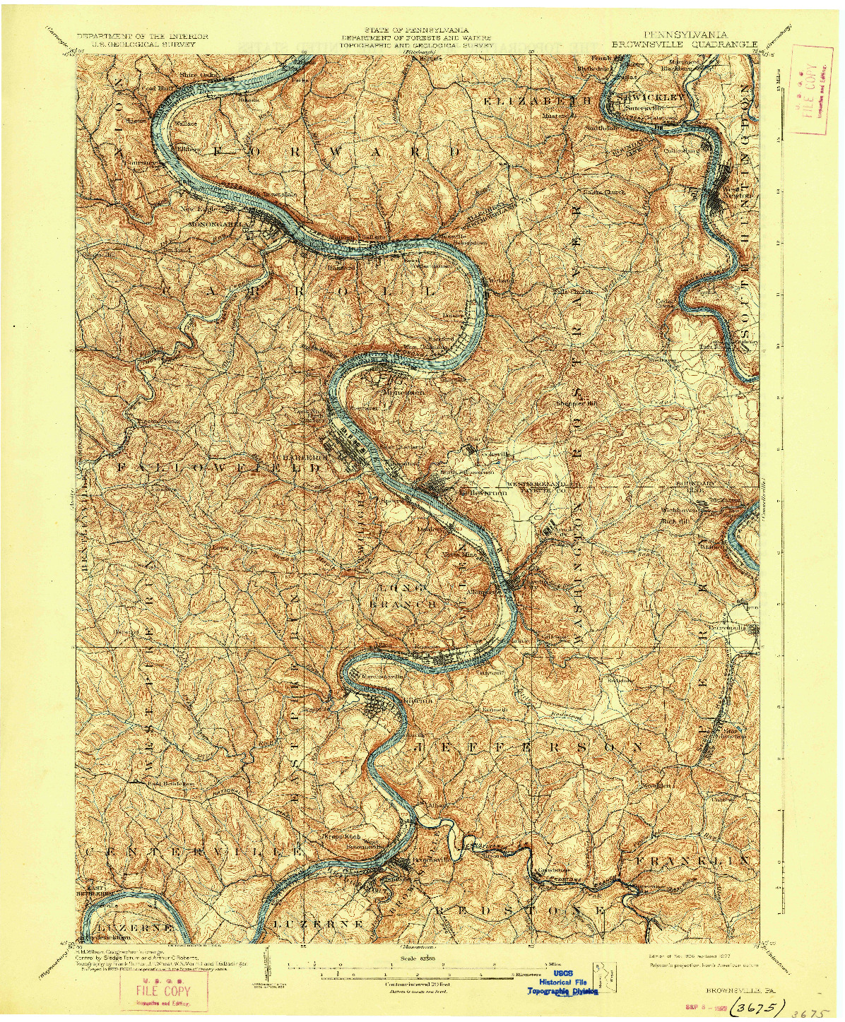 USGS 1:62500-SCALE QUADRANGLE FOR BROWNSVILLE, PA 1906