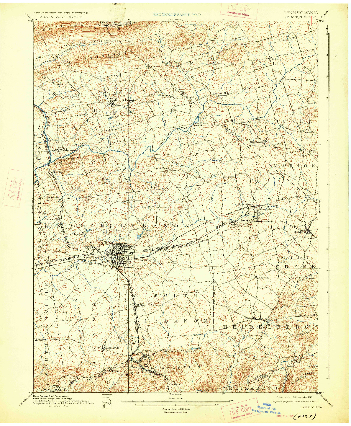 USGS 1:62500-SCALE QUADRANGLE FOR LEBANON, PA 1899