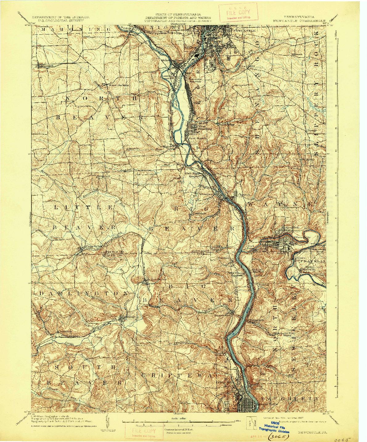 USGS 1:62500-SCALE QUADRANGLE FOR NEWCASTLE, PA 1904