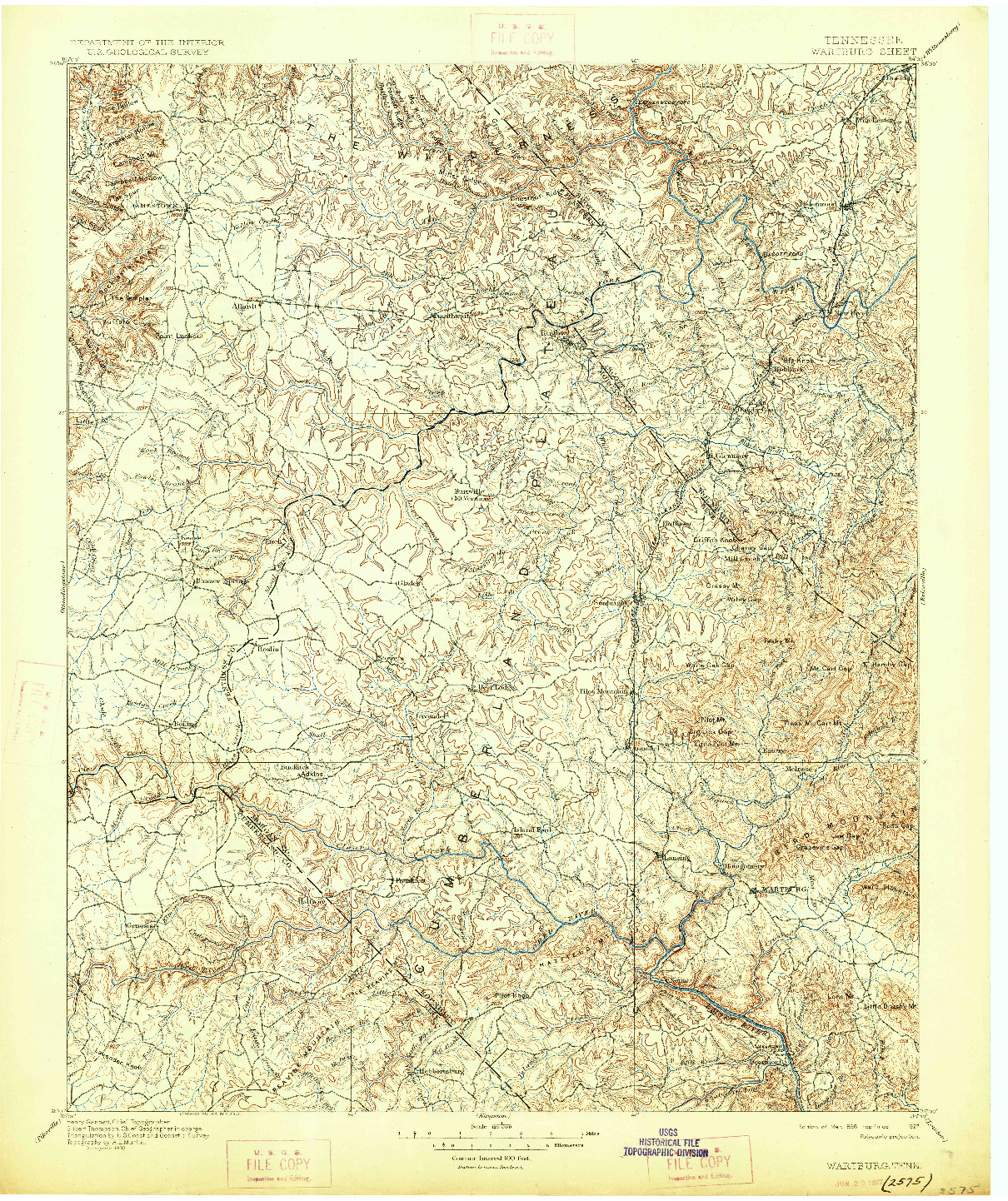 USGS 1:125000-SCALE QUADRANGLE FOR WARTBURG, TN 1896