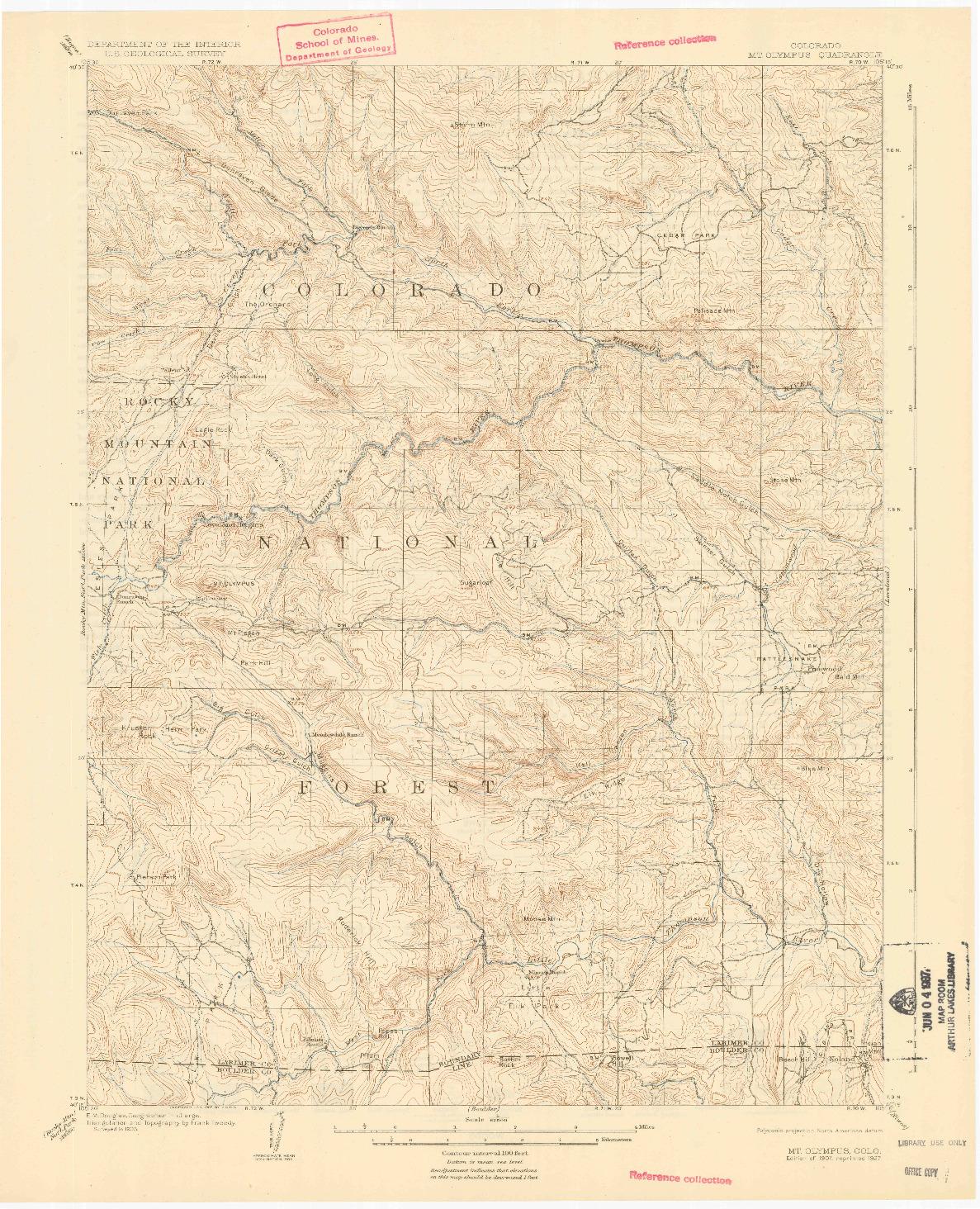 USGS 1:62500-SCALE QUADRANGLE FOR MOUNT OLYMPUS, CO 1907