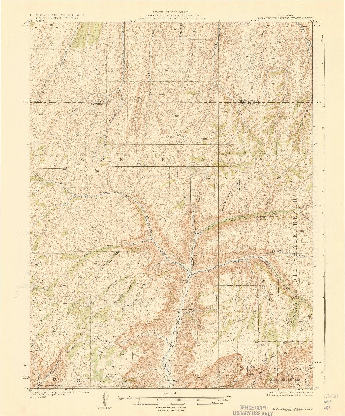 USGS 1:62500-SCALE QUADRANGLE FOR PARACHUTE CREEK, CO 1927