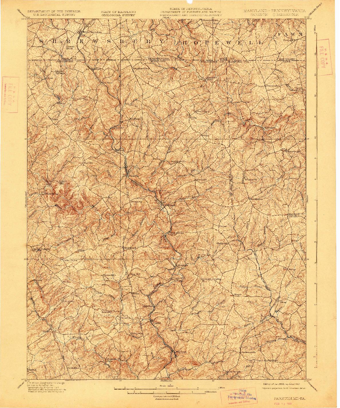 USGS 1:62500-SCALE QUADRANGLE FOR PARKTON, MD 1902