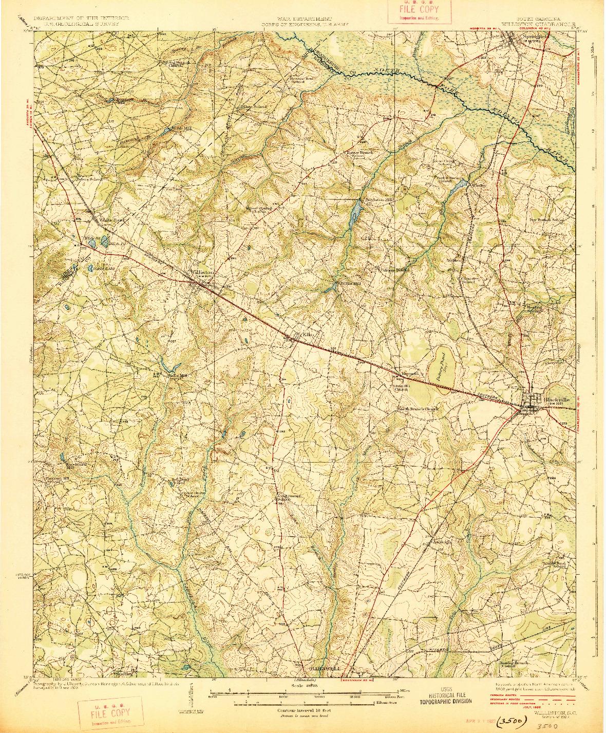 USGS 1:62500-SCALE QUADRANGLE FOR WILLISTON, SC 1927