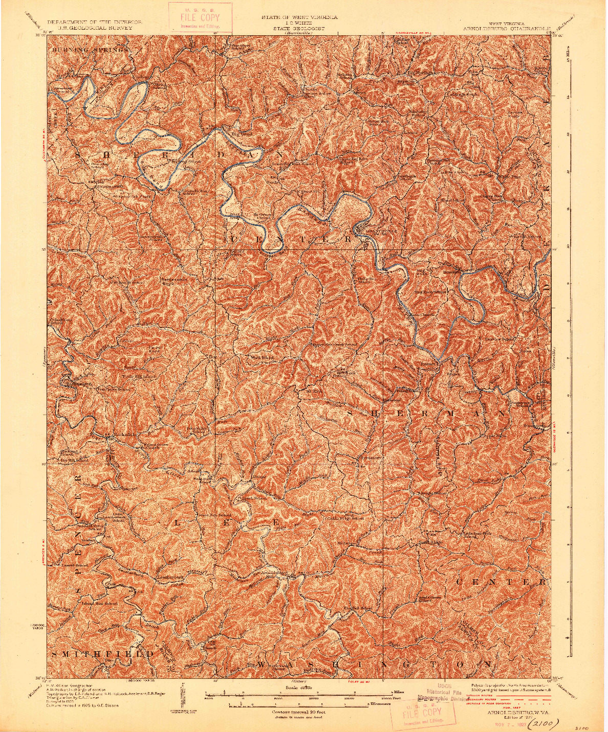 USGS 1:62500-SCALE QUADRANGLE FOR ARNOLDSBURG, WV 1927