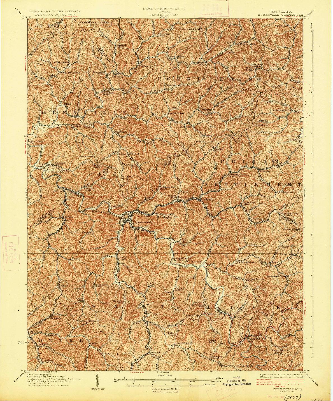 USGS 1:62500-SCALE QUADRANGLE FOR BURNSVILLE, WV 1927