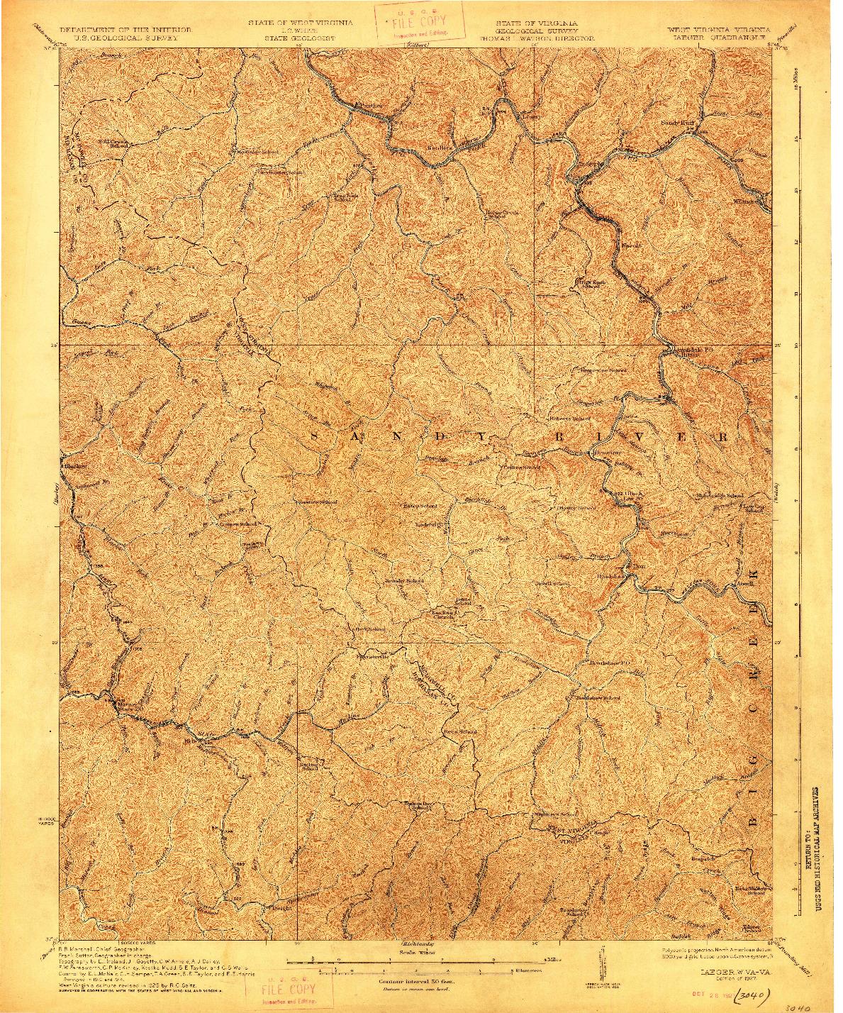 USGS 1:62500-SCALE QUADRANGLE FOR IAEGER, WV 1927