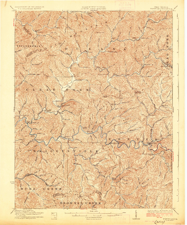 USGS 1:62500-SCALE QUADRANGLE FOR PINEVILLE, WV 1927