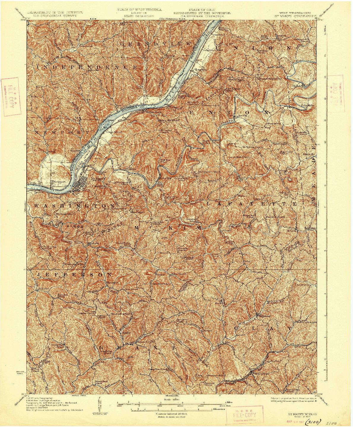 USGS 1:62500-SCALE QUADRANGLE FOR ST MARYS, WV 1927