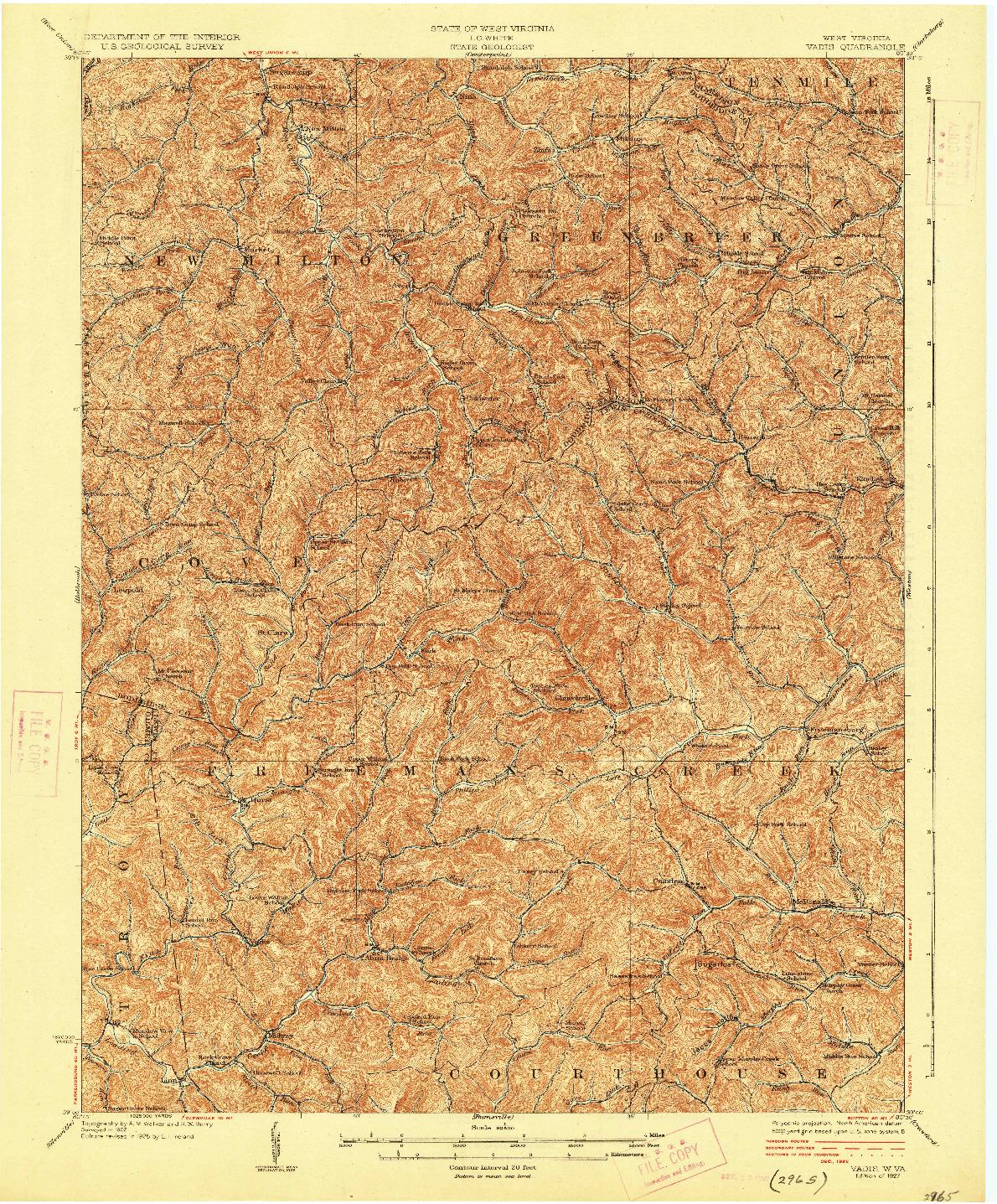 USGS 1:62500-SCALE QUADRANGLE FOR VADIS, WV 1927