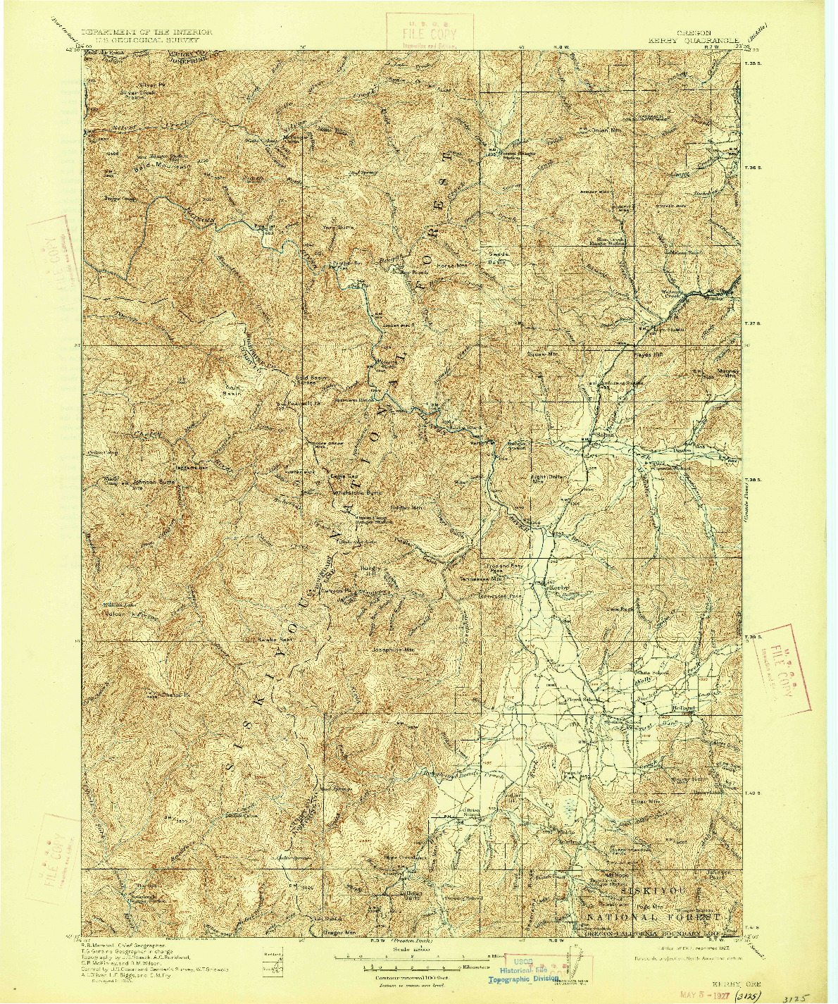 USGS 1:125000-SCALE QUADRANGLE FOR KERBY, OR 1917