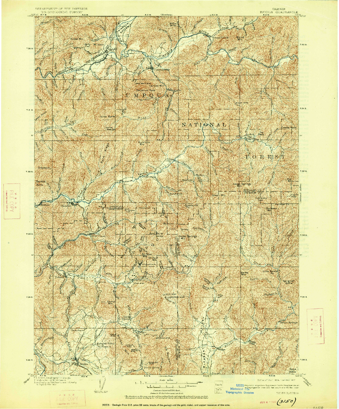 USGS 1:125000-SCALE QUADRANGLE FOR RIDDLE, OR 1904