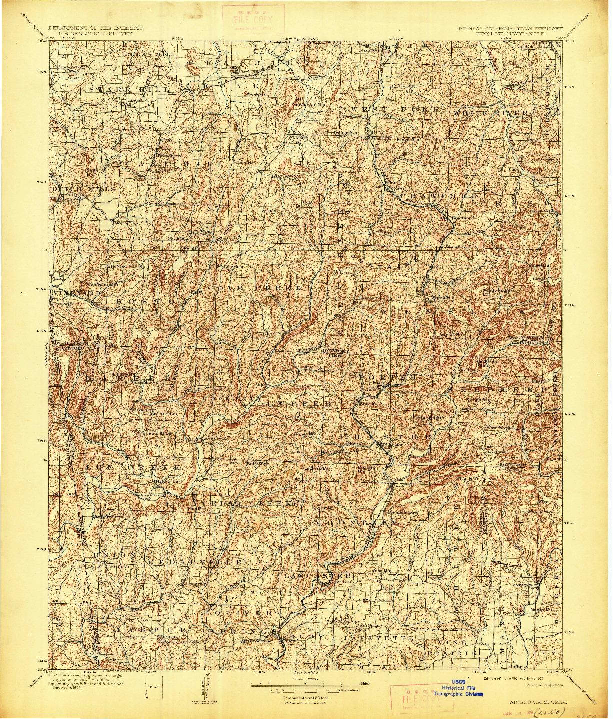 USGS 1:125000-SCALE QUADRANGLE FOR WINSLOW, AR 1901