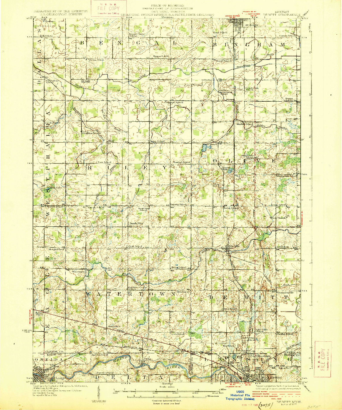 USGS 1:62500-SCALE QUADRANGLE FOR DE WITT, MI 1927