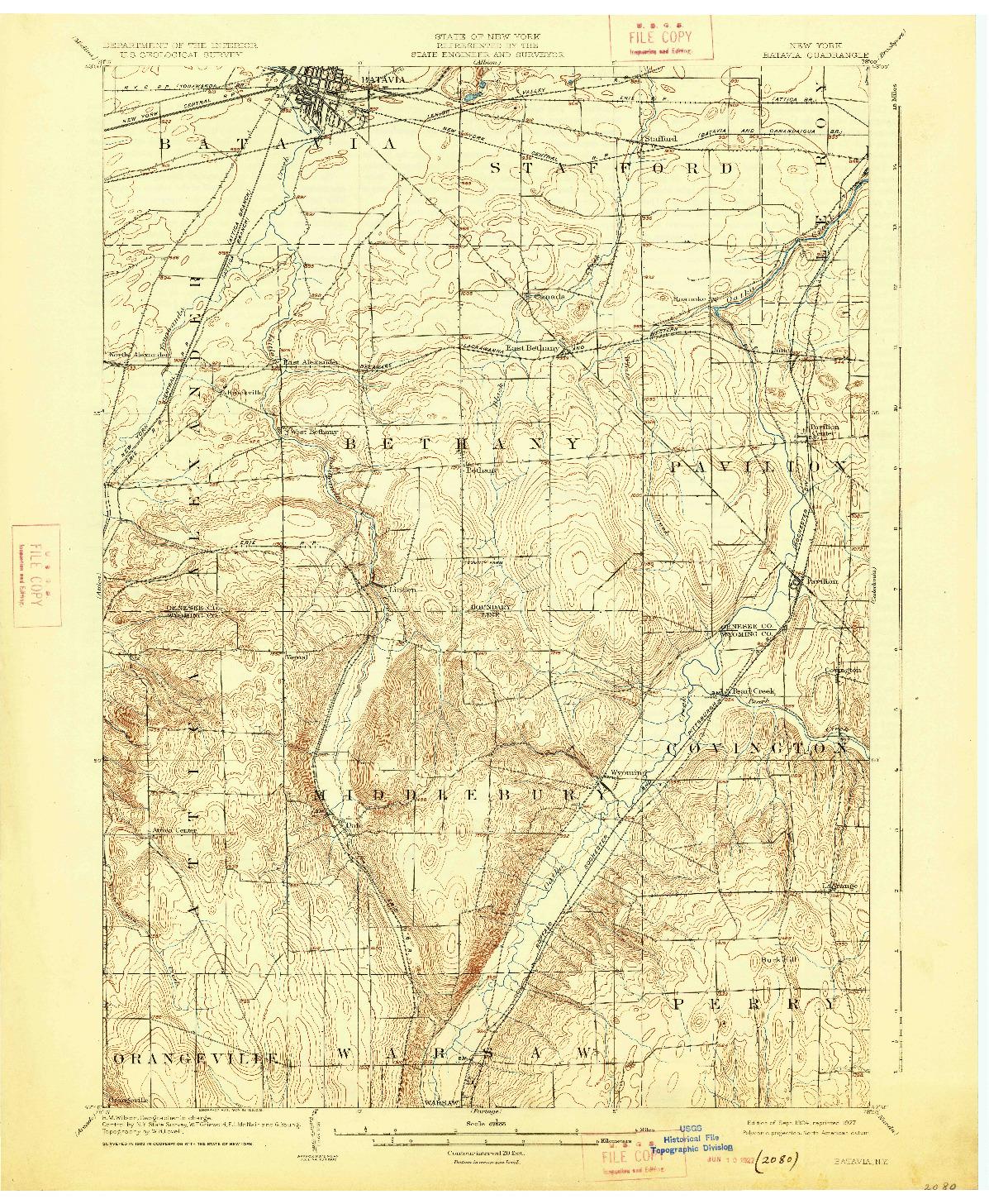 USGS 1:62500-SCALE QUADRANGLE FOR BATAVIA, NY 1904