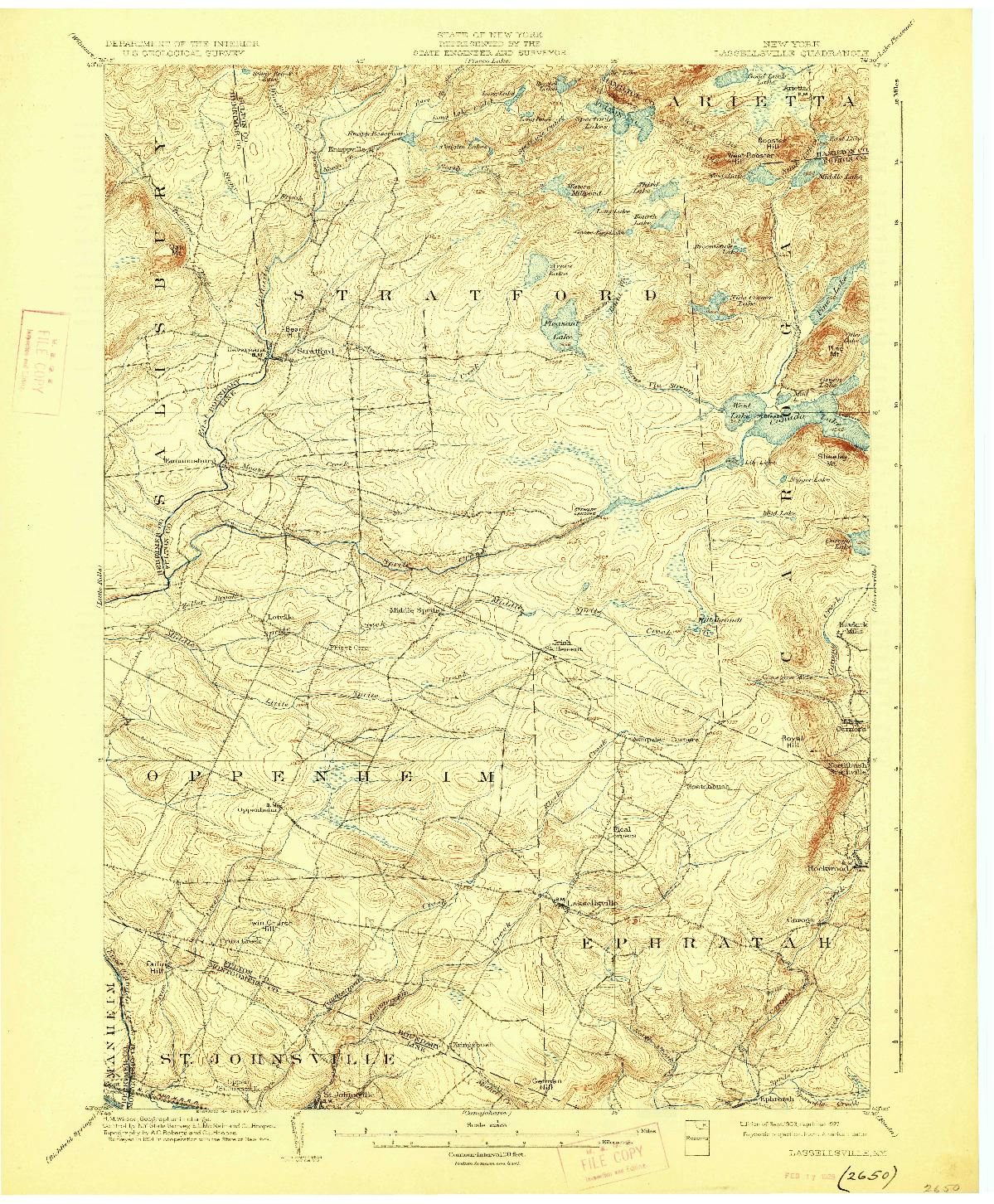 USGS 1:62500-SCALE QUADRANGLE FOR LASSELLSVILLE, NY 1903