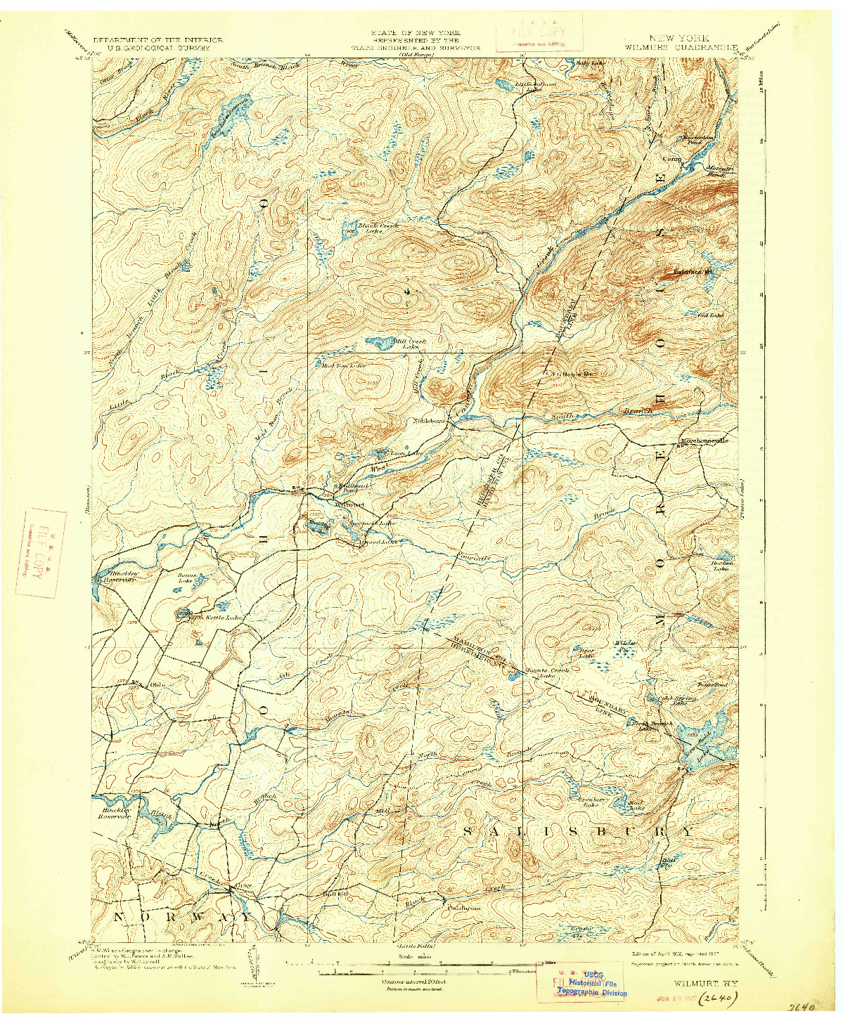 USGS 1:62500-SCALE QUADRANGLE FOR WILMURT, NY 1902