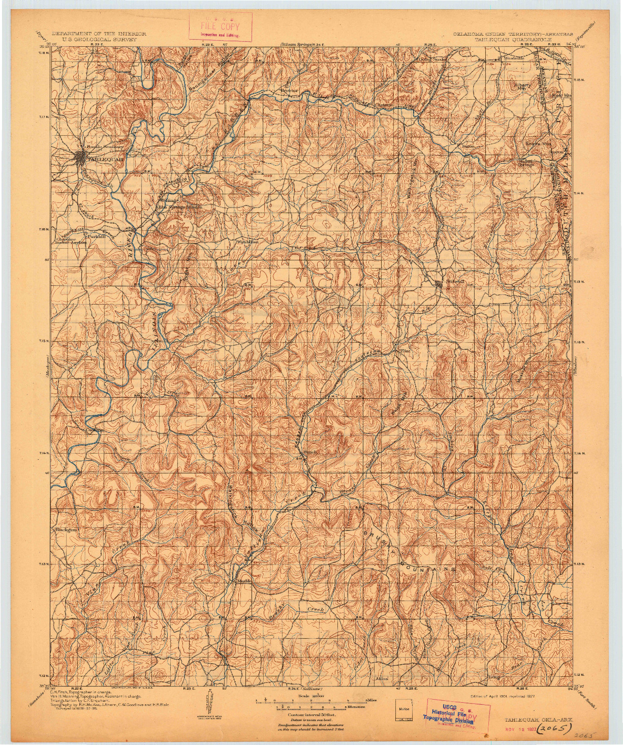 USGS 1:125000-SCALE QUADRANGLE FOR TAHLEQUAH, OK 1901