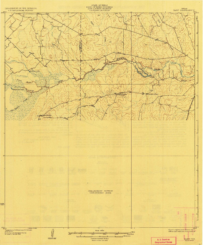 USGS 1:62500-SCALE QUADRANGLE FOR BART, TX 1927