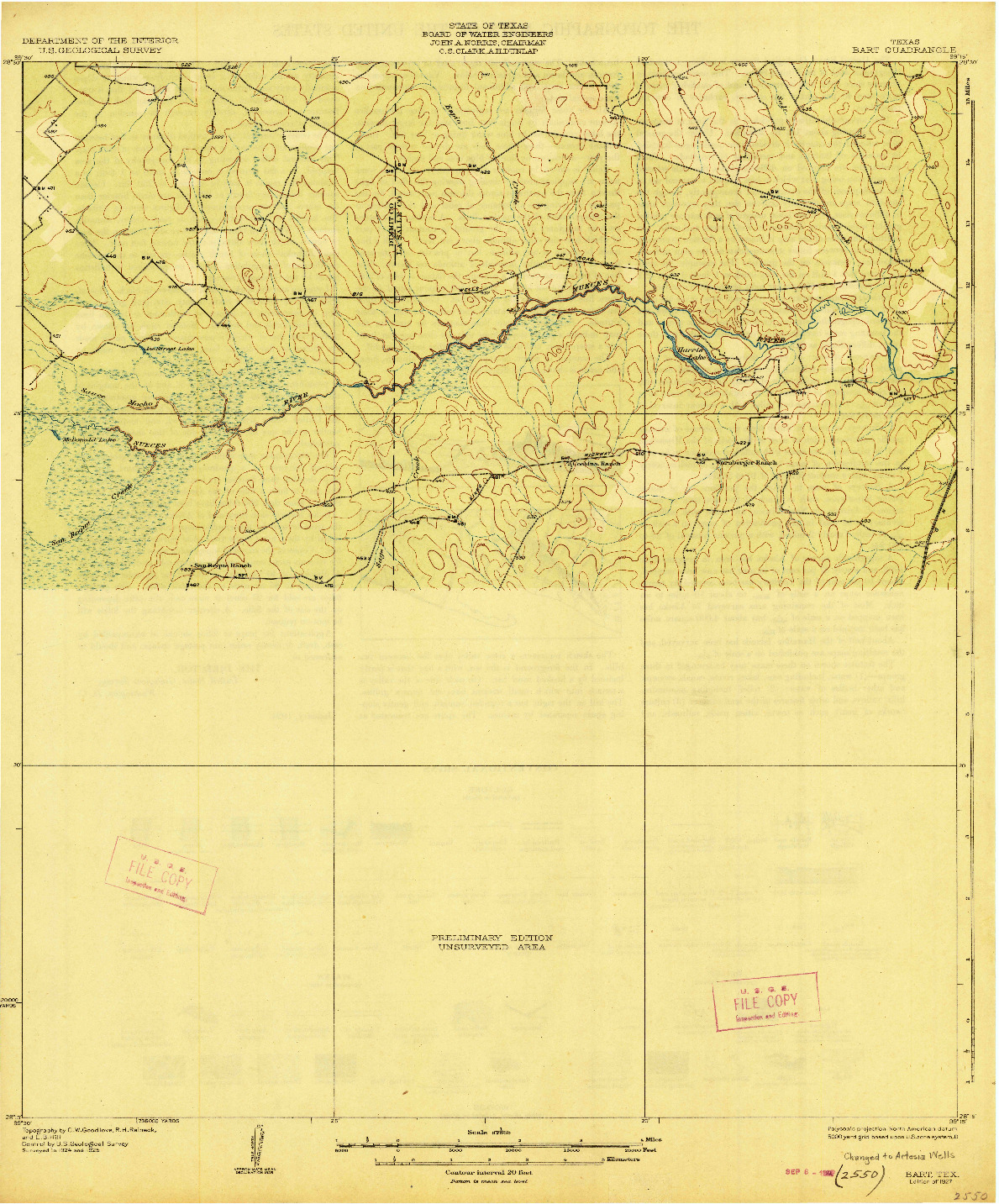 USGS 1:62500-SCALE QUADRANGLE FOR BART, TX 1927