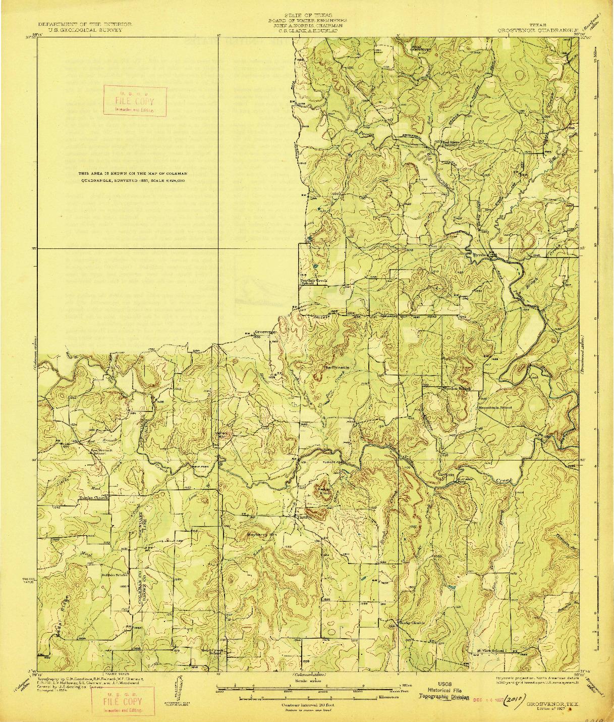USGS 1:62500-SCALE QUADRANGLE FOR GROSVENOR, TX 1927