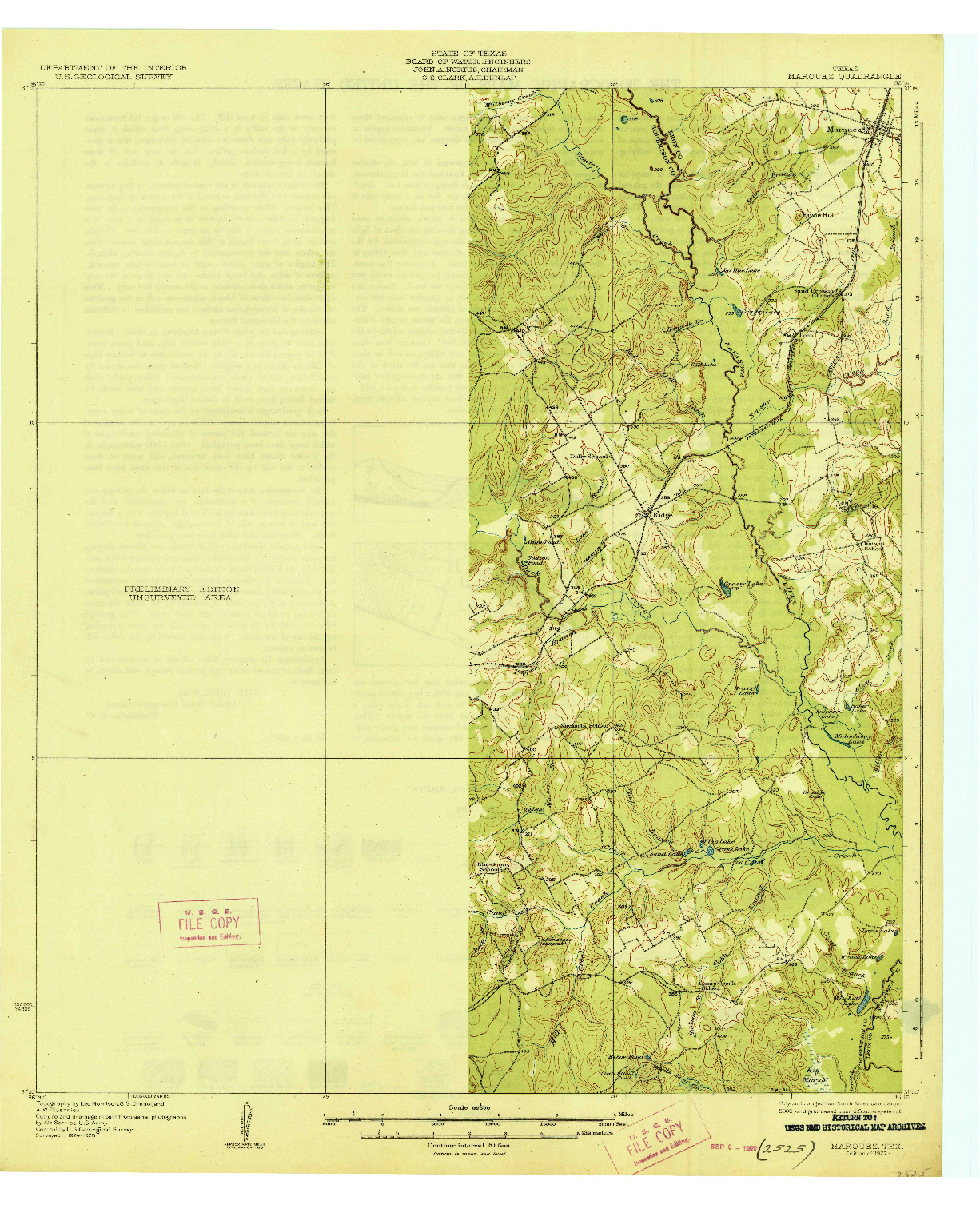 USGS 1:62500-SCALE QUADRANGLE FOR MARQUEZ, TX 1927