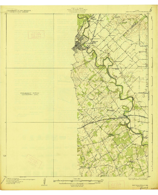 USGS 1:62500-SCALE QUADRANGLE FOR NEW BRAUNFELS, TX 1927