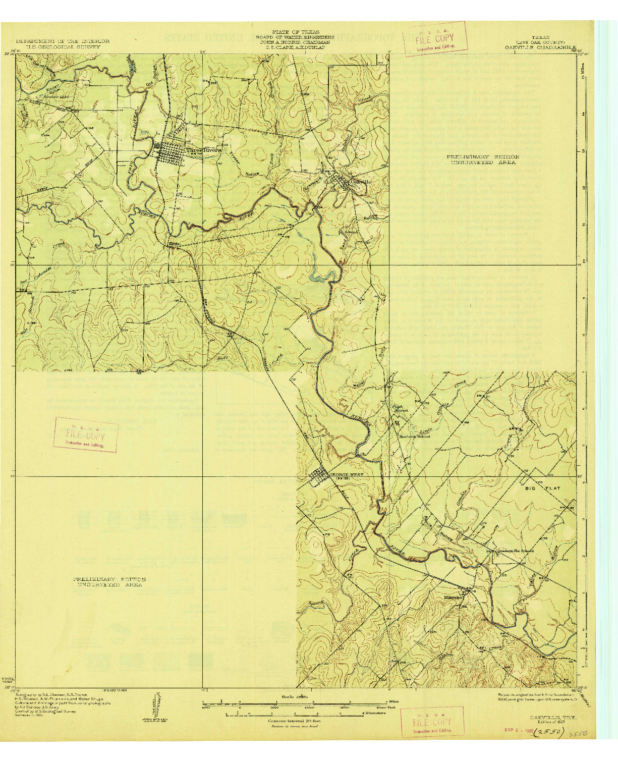 USGS 1:62500-SCALE QUADRANGLE FOR OAKVILLE, TX 1927