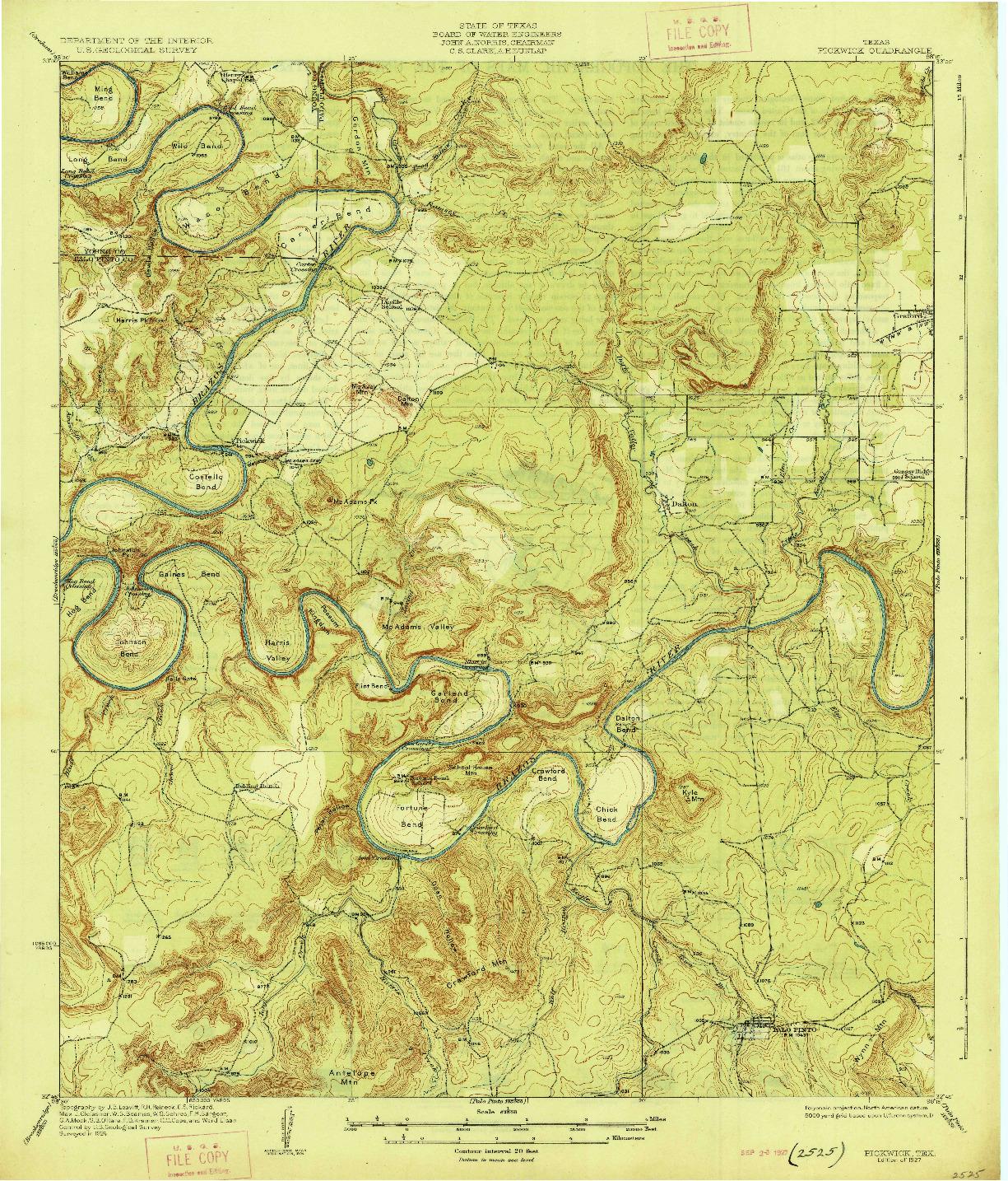 USGS 1:62500-SCALE QUADRANGLE FOR PICKWICK, TX 1927