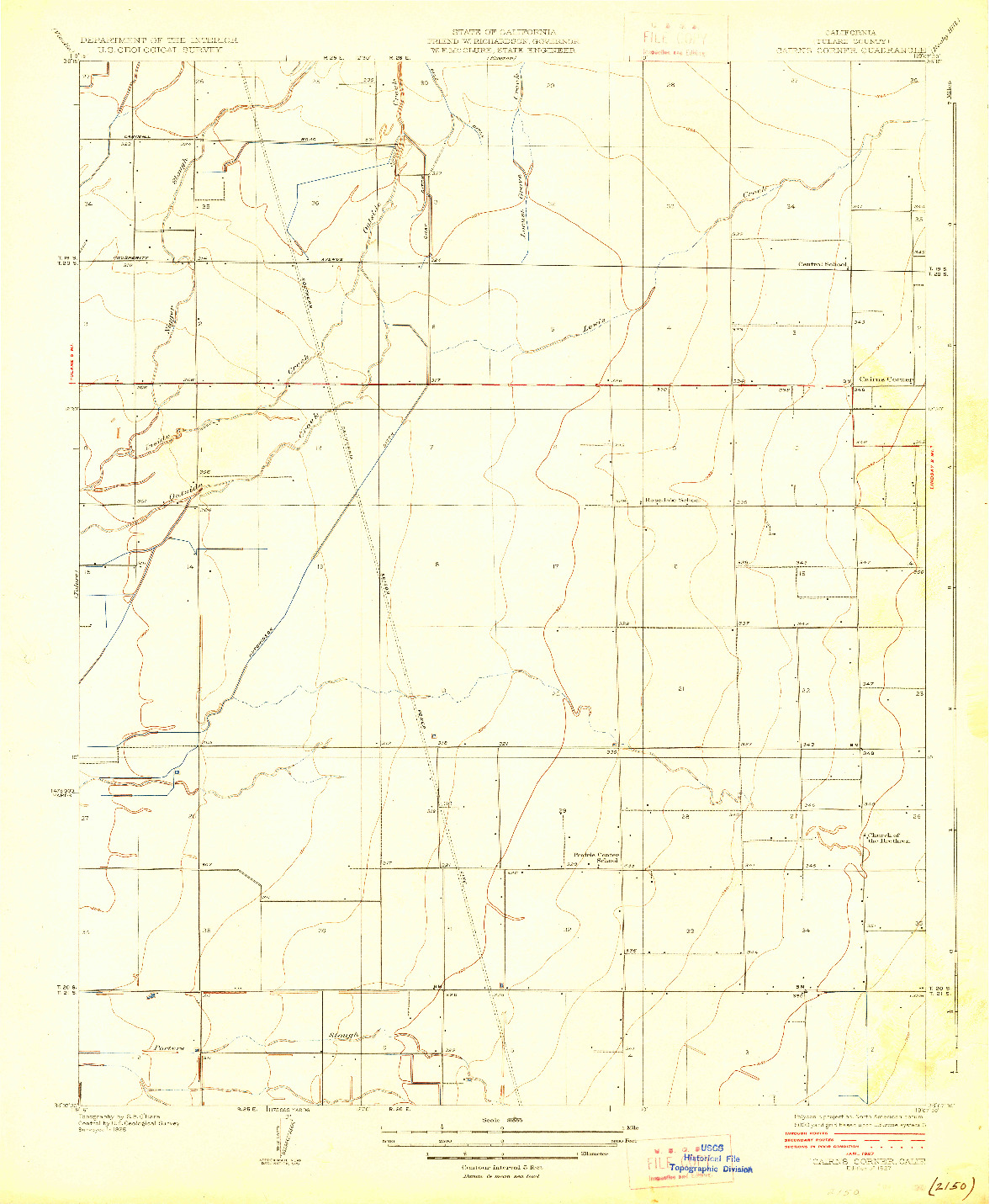 USGS 1:31680-SCALE QUADRANGLE FOR CAIRNS CORNER, CA 1927