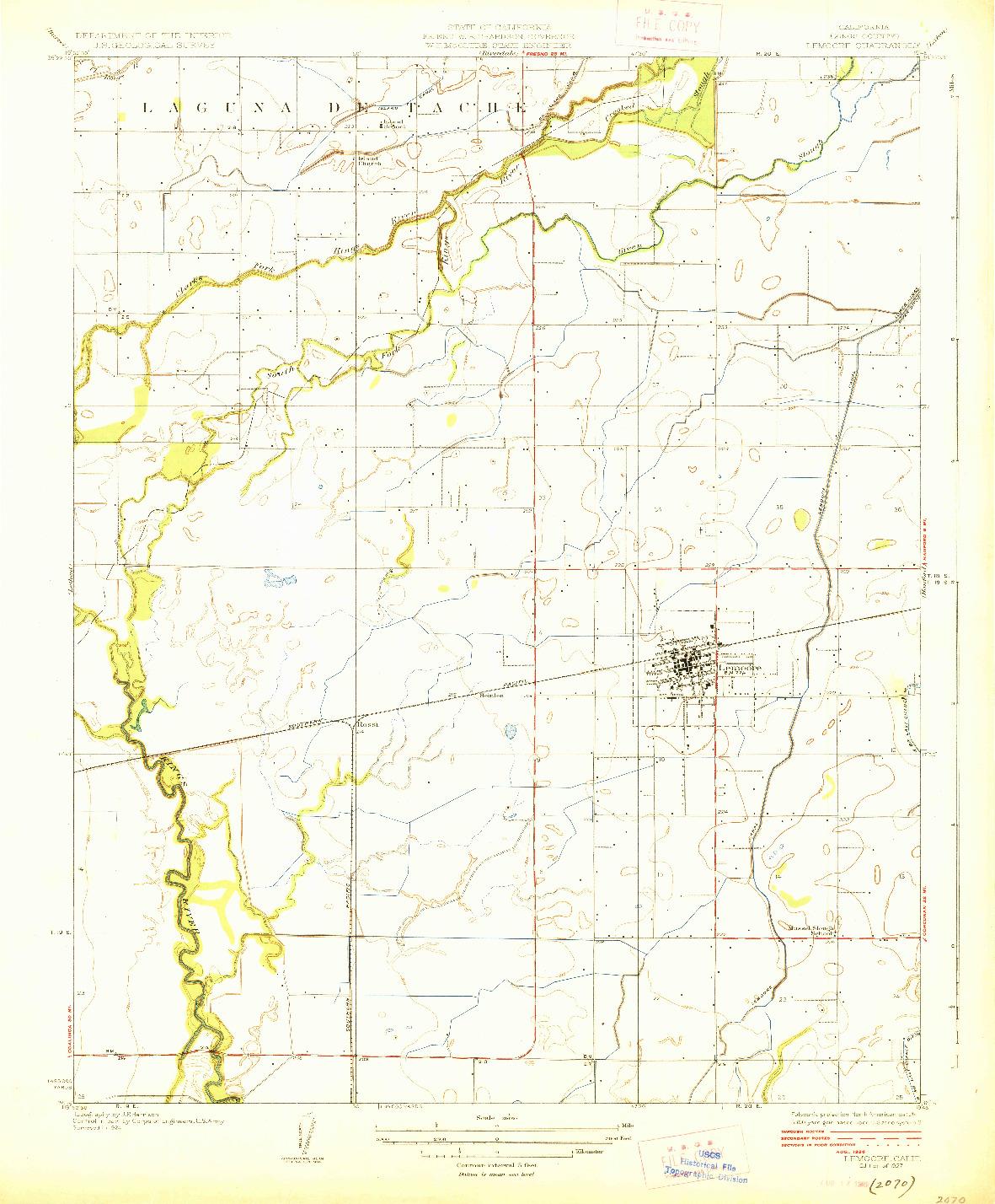 USGS 1:31680-SCALE QUADRANGLE FOR LEMOORE, CA 1927